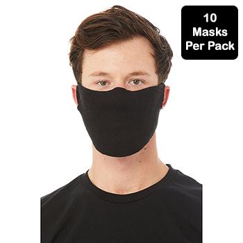 Contoured Fabric Face Mask, Black, 7oz, 10/PK