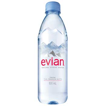 Evian Natural Spring Water, 500 mL, 24/CT