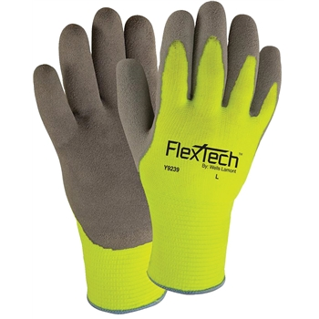Gloves, FlexTech™, Hi-Vis, Palm- Dipped, Large, 12 PR/DZ