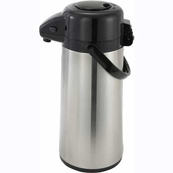 Winco® 3L Glass Lined Airpot with Push Button Top, Stainless Steel Body