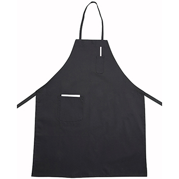Winco® Full Length Bib Apron w/Pocket, Black