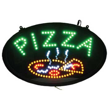 """Winco® LED Sign, """"Pizza"""", 3 Pattern, Dust Cover"""
