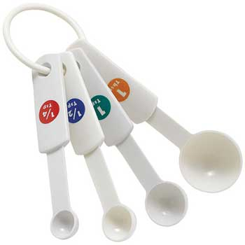 4 Piece White Measuring Spoon Set, Plastic