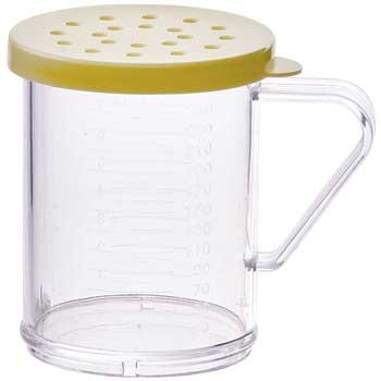Winco® Polycarbonate Dredges, 10 oz., Yellow Snap-On Lid