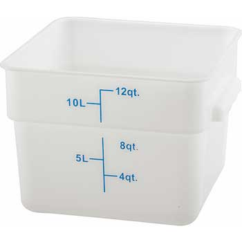 Winco® 12 Quart Square Storage Container, White