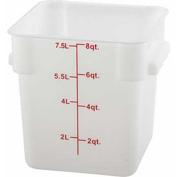 Winco® 8 Quart Square Storage Container, White