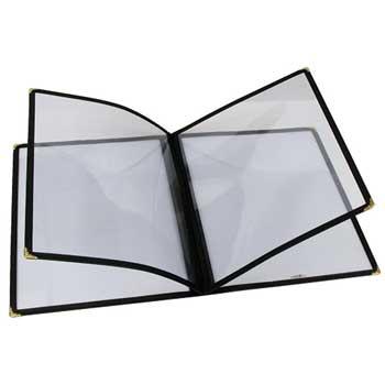 """Winco® Menu Cover, 4 Page, 9-5/8"""" x 12-1/8"""", Black"""