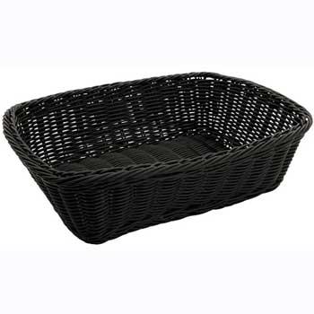 """Winco® Poly Woven Baskets, Rectangular, 11-1/2"""" x 8-1/2"""" x 3-1/2"""", Black, 12pcs/pk"""