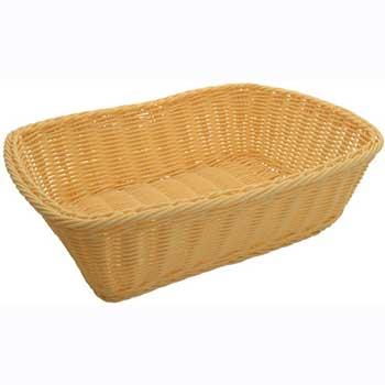 "Winco® Poly Woven Baskets, Rectangular, 11-1/2"" x 8-1/2"" x 3-1/2"", Natural, 12pcs/pk"