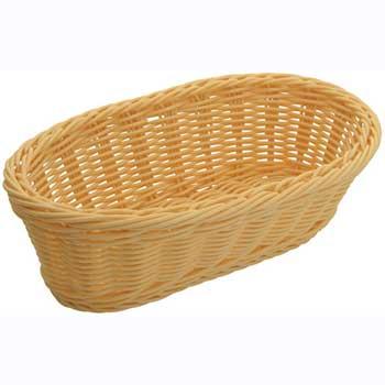 """Poly Woven Baskets, Oblong, 9"""" x 4-1/2"""" x 3"""", Natural, 6pcs/pk"""