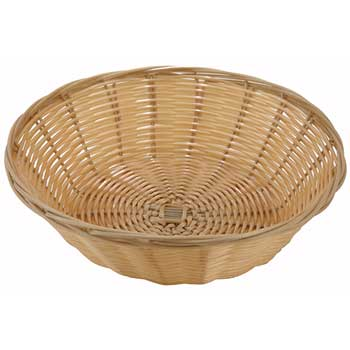 """Winco® Poly Woven Baskets, Round, 9"""" x 2-3/4"""", Natural"""