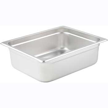 "Winco® Anti-Jam Steam Pan, Half size, 4"", 25 Gauge Stainless Steel"
