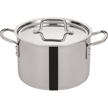 Winco® Tri-Gen™ Tri-Ply Stainless Steel Stock Pot with Cover, 6 qt.