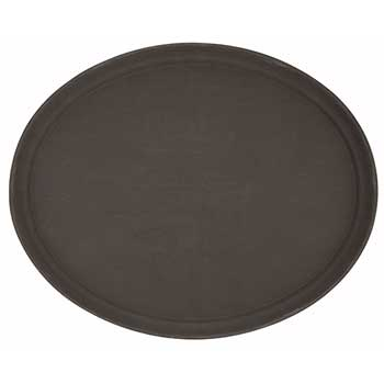 """Winco® 22"""" x 27"""" Easy Hold Rubber Lined Tray, Brown, Oval"""