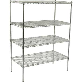 "Winco® Shelving Unit, 48""w x 18""d x 72""h, Chrome Plated"