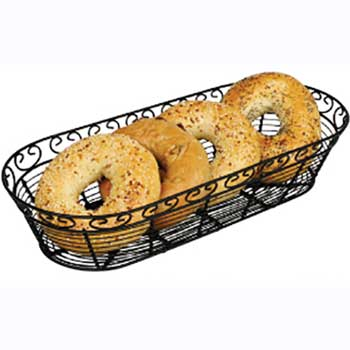 "Winco® Bread/Fruit Basket, Black Wire, Oblong, 15"" x 6-1/4"" x 3""H"
