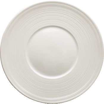 "9"" Zendo Porcelain Round Plate, Bright White, 24/CS"