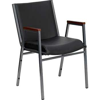 Flash Furniture HERCULES Series Heavy Duty Stack Chair with Arms, Vinyl, Black