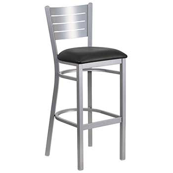 Flash Furniture HERCULES Series Silver Slat Back Metal Restaurant Barstool, Black Vinyl Seat