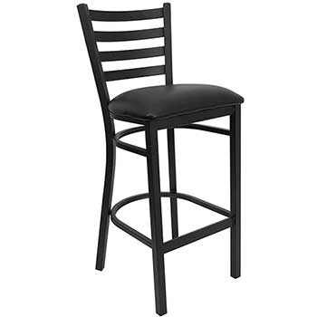 Flash Furniture HERCULES Series Black Ladder Back Metal Restaurant Barstool, Black Vinyl Seat