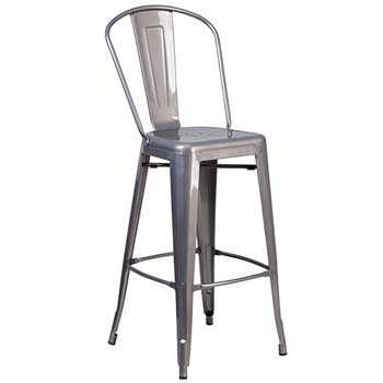 """Flash Furniture Clear Coated Indoor Barstool with Back, 30"""" H"""