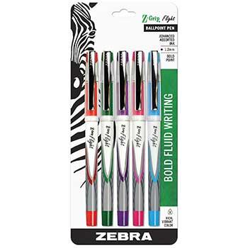 Z-Grip™ Flight Stick Ballpoint Pen, Assorted, 5/Set