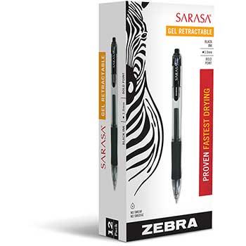 Zebra® Sarasa Retractable Gel Pen, Black Ink, Bold, Dozen