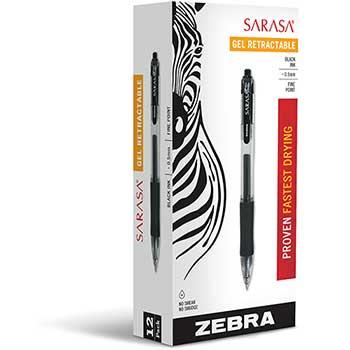 Sarasa Retractable Gel Pen, Black Ink, Fine, Dozen