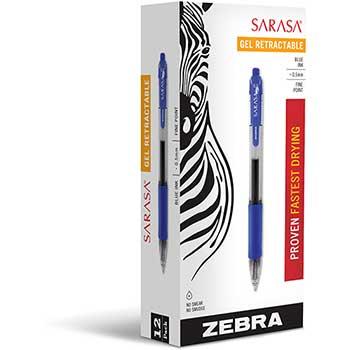 Zebra® Sarasa Retractable Gel Pen, Blue Ink, Fine, Dozen