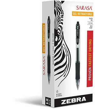 Sarasa Retractable Gel Pen, Black Ink, Medium, Dozen