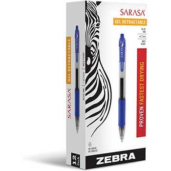 Zebra® Sarasa Retractable Gel Pen, Blue Ink, Medium, Dozen