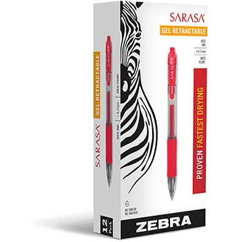 Zebra® Sarasa Retractable Gel Pen, Red Ink, Medium, Dozen