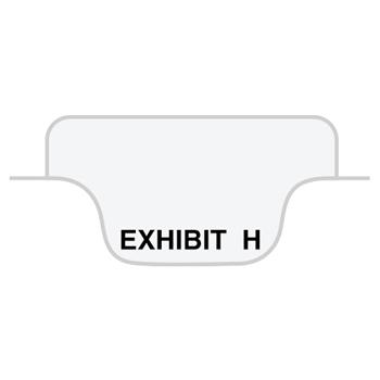 "Legal Tabs 80000 Series Legal Index Dividers, Bottom Tab, Printed ""Exhibit H"", 25/Pack"