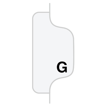 """Legal Tabs 80000 Series Legal Exhibit Index Dividers, Side Tab, """"G"""", White, 25/Pack"""