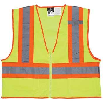MCR™ Safety Safety Vest, Flame Resistant, Hi Viz Yellow/Orange, Large