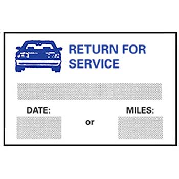 W.B. Mason Auto Supplies Static Cling Reminders, Return for Service, 100/BX