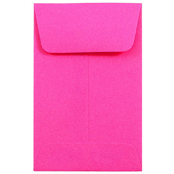 """JAM Paper #1 Coin Business Colored Envelopes, 2 1/4"""" x 3 1/2"""", Ultra Fuchsia Pink, 500/PK"""
