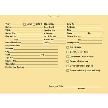 Auto Supplies Vehicle Deal Jackets, Printed, DSA-546, Buff, 500/BX