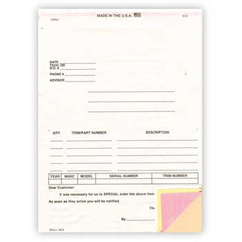 Special Parts Order Form, SPO-4, 100/BX