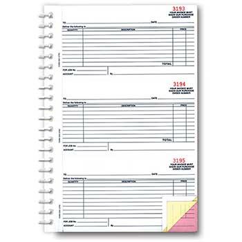W.B. Mason Auto Supplies Purchase Order Book, DSA-127NC, 3 Part, 150/BK, 1 BK/PK