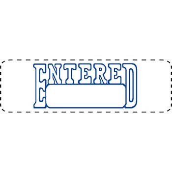 "W.B. Mason Auto Supplies Self Inking Stamp, ENTERED, Blue Ink, 1/2"" x 1 5/8"""
