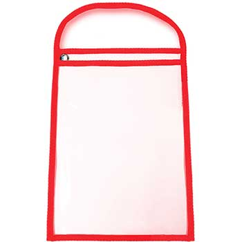 """WorkTicket Holder, Red, Clear Front & Back, 11"""" x 13"""", 25/BX"""