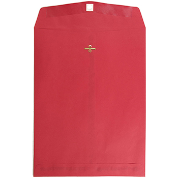 """JAM Paper Open End Catalog Colored Envelopes with Clasp Closure, 10"""" x 13"""", Red Recycled, 100/BX"""