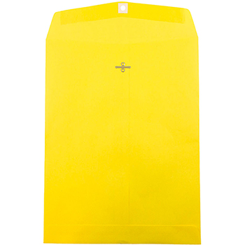 """JAM Paper® Open End Catalog Colored Envelopes with Clasp Closure, 10"""" x 13"""", Yellow Recycled, 100/BX"""