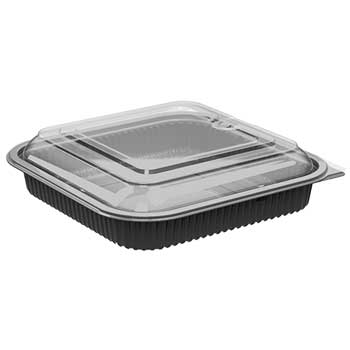 "Anchor Packaging Culinary Squares Low Dome Lid, 36 oz., Anti-Fog, 1-Comp Base, Black, 8.46"" x 8.46"" x 2.25, 150/CS"