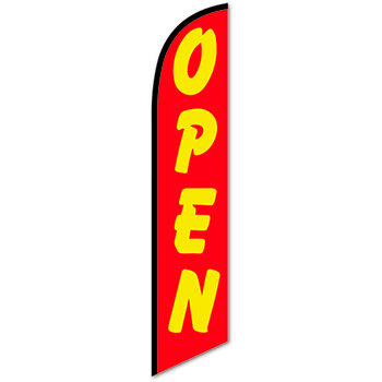W.B. Mason Auto Supplies Swooper Banner, Open, Yellow Letters & Red Background