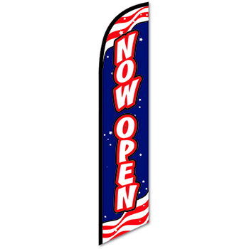 W.B. Mason Auto Supplies Swooper Banner, Now Open, Red/White/Blue