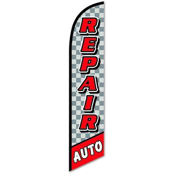Auto Supplies Swooper Banner, Auto Repair, Checkered