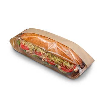 "Dubl View ToGo! Deli Bag Natural, 4-1/4"" x 2-3/4"" x 16-1/2"