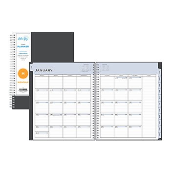 """Passages Monthly Wirebound Planner, 8"""" x 10"""", Charcoal, 2021"""